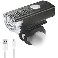 FGKLU Luz Delantera de Bicicleta Recargable USB - Lámpara LED Impermeable para Bicicleta de Seguridad con 3 Modos de Luz para Ciclismo de Carretera y Montaña