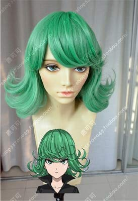 Anime Manga ONE PUNCH MAN Tatsumaki Verde Rizado Pelo sinttico Cosplay Peluca Accesorio para el cabello Cos + Peluca Capcomo la imagen