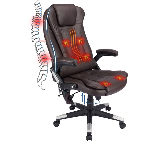 HZLAGM Office Chair with Vibrating,Adjustable Ergonomic Reclining Chair with Lumbar Support, Rolling Swivel Chair with 6-Point Vibration Heating Function-Brown