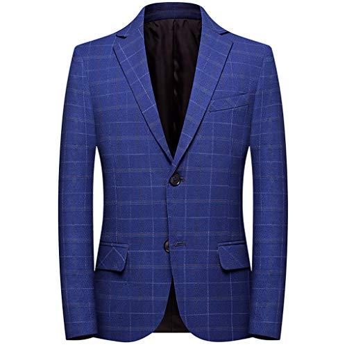Blazer Hombre Azul Talla Grande Cuadros Traje Hombre Blazer Casual Elegante Abrigo Suit Traje Hombre Chaquetas Charm Encanto Formal Ceremonia Partido Boda Negocios Fiesta Chaqueta
