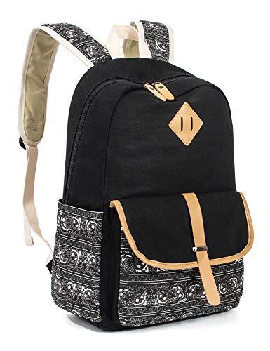 Leaper Cute Canvas Backpack for Girls School Bag Travel Daypack Black 8812