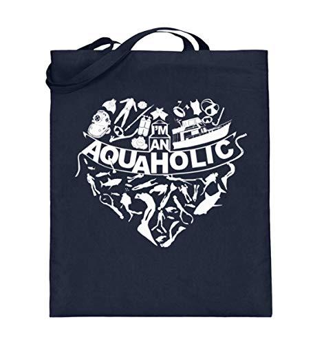 XASTY Tauchen Gerätetauchen Freitauchen Apnoe T-Shirts Hoodies AQUAHOLIC Taucher Dive Meer - Jutebeutel (mit langen Henkeln) -38cm-42cm-Deep Blue