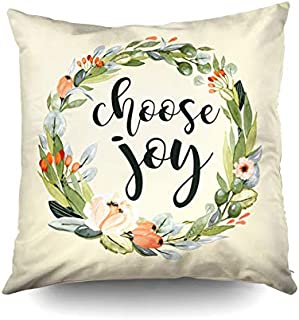 KIOAO Christmas Pillowcase Standard 16X16Inches Square for Cushion Home Decorative, i Choose Joy Flowers Christian Quote Farmhouse Calligraphy Pillow Covers Printed with Both Sides of Cotton