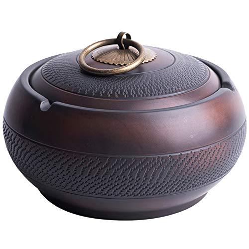 WXD Cenicero Grande de cerámica para el hogar con Tapa, a Prueba de Viento, para Interiores y Exteriores, cenicero Cubierto con 3 Ranuras, Fresno