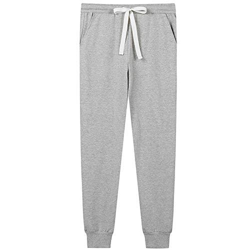 Pyjama Damen Nachthemd Schlafanzug Baumwoll-Pyjamahose Bequeme Schlafhose Damen-Jogginghose Mit Taschen Schlafhose Für Damen Lounge-Hose Nachthose XXL Grau