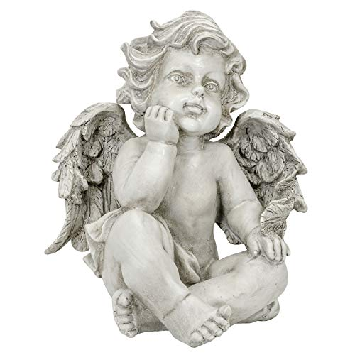 Aubaho Ángel Sentado Figura ala jardín casa decoración Estilo Antiguo 27cm