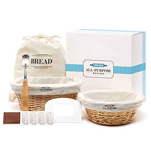 Traditional French Style Banneton Bread Proofing Baskets With Linen Liners, Bread Bag, Dough Scraper & Scoring Lame. Perfect Sourdough Proofing Bowl Gift for Bakers.