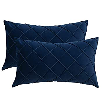 PLWORLD Navy Blue Lumbar Pillow Covers 12x20 Inches Set of 2 Pleated Decorative Small Throw Pillow Cases Velvet Textured Cushion Cases for Couch Bedroom