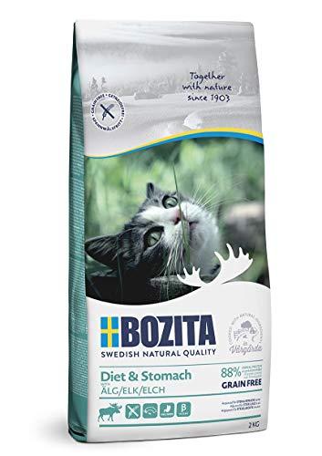BOZITA Diet & Stomach Getreidefrei mit Elch - Trockenfutter für wenig aktive und übergewichtige erwachsene Katzen, 2 kg