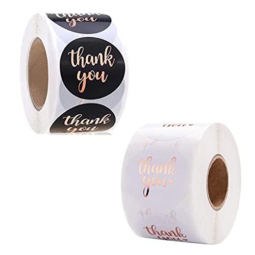 Etiquetas adhesivas de agradecimiento, 1000 piezas Thank You Sticker Lables 1.5 + 1 pulgada para envases para hornear, pequeñas empresas, bodas, cumpleaños, bolsas de regalo para fiestas