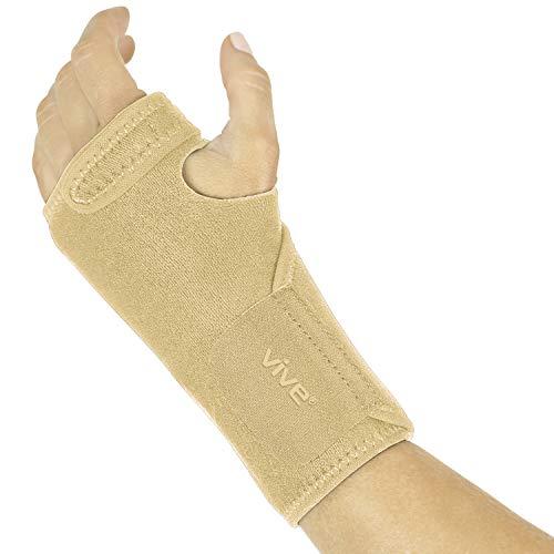 Vive Wrist Brace - Carpal Tunnel Hand Compression Support Wrap for Men, Women, Tendinitis, Bowling, Sports Injuries Pain Relief - Removable Splint - Universal Ergonomic Fit (Beige, Left)