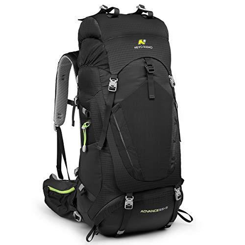 NEVO RHINO 50L/60L/80L Internal Frame Backpack,Ultralight waterproof Daypack for Hiking, Camping (black-55/60L)