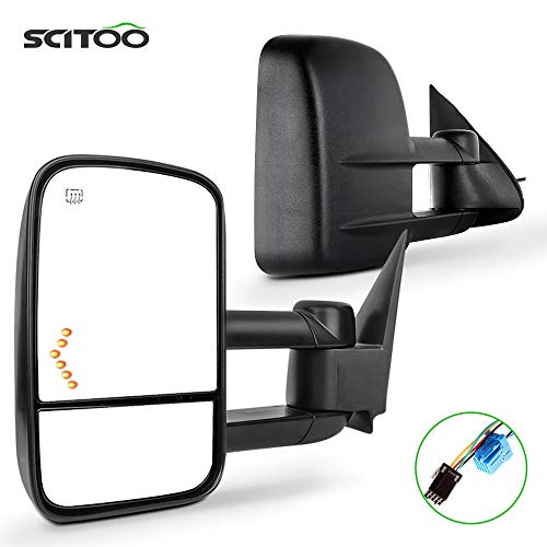 SCITOO Compatible with Towing Mirrors Pair Rear View Mirrors fit for 2003-2007 for GMC for Silverado for Sierra (07 Classic Models) with Power Heated Turn Signal Manual Telescoping Folding Feature