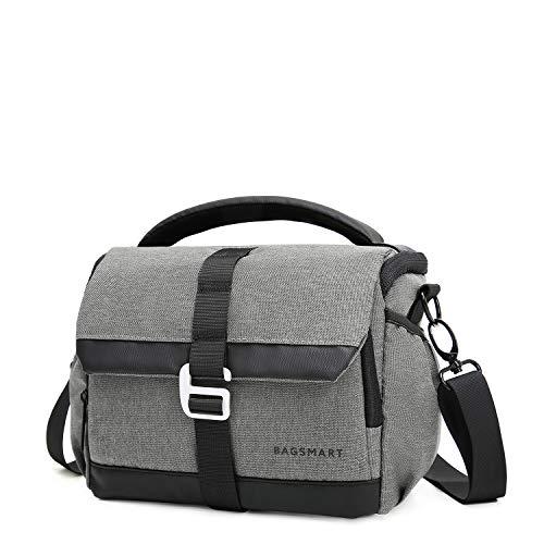 BAGSMART Kameratasche DSLR SLR Fototasche mit Regenschutz für Spiegelreflexkamera (Grau)