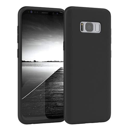 EAZY CASE Nano Silikon Handyhülle kompatibel mit Samsung Galaxy S8, Slimcover mit Kameraschutz und Innenfutter, Silikonhülle, Schutzhülle, Bumper, Handy Case, Hülle, Softcase Ultra dünn, Schwarz