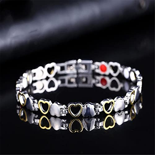 CXWK Pulsera magnética Saludable para Hombres y Mujeres, imanes de Terapia de energía de Acero de Titanio, brazaletes para Amantes, Brazalete de corazón, brazaletes, joyería