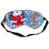 Wrution Schlafmaske, verstellbare Träger, super weich, für Damen und Herren, Weihnachtsmann Schneeflocken, Weihnachten, Happy New Year, Urlaub, Grußkarte