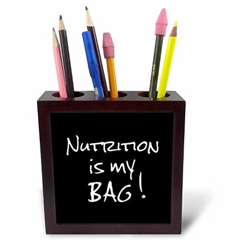 3dRose 232197 PH 1 5 nutritionist dietician tekst, cadeau, met tas met tegel met houder, zwart/wit