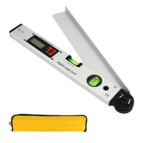 Achort Professional Digitaler Winkelmesser 0-225 °mit Wasserwaage und LCD Beleuchtetung 400mm/16 Zoll Winkelmessgerät mit Batterie und Tasche für Bedachungstechnik Silber
