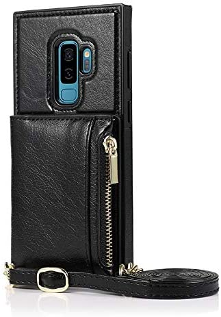 Case for Samsung Galaxy S9 Plus, Zipper Wallet Case with Credit Card Holder/Crossbody Long Lanyard, Shockproof Leather TPU Case Cover for Samsung Galaxy S9 Plus (Color : Black)