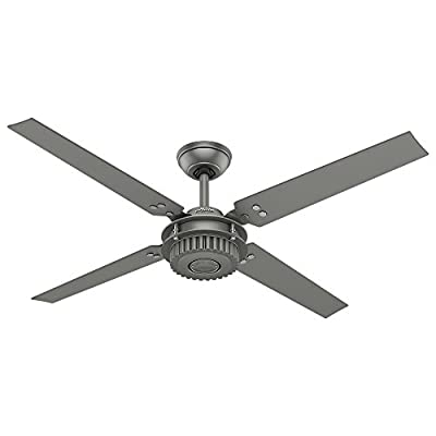 """Hunter Chronicle Industrial Indoor / Outdoor Ceiling Fan with Wall Control, 54"""", Matte Silver"""
