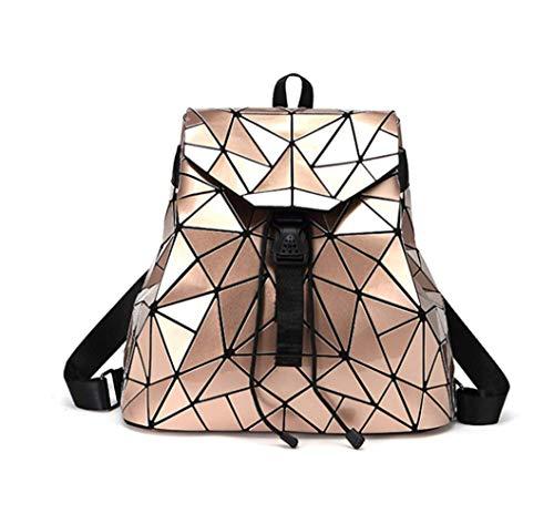 Damen Taschen Geometrische Rucksack Damen Umhängetaschen Faltbarer Rucksack Schwarz Student Bag Hologram Backpack,Gold