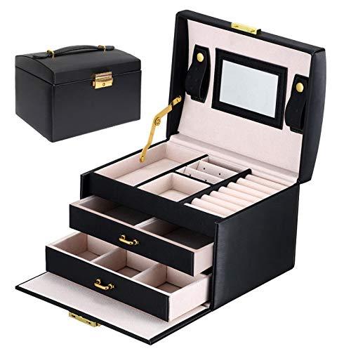 Asvert Caja joyería Organizador de Joyas Estuche de Joyas Cuero con Espejo 17.5x14x13cm, Organizador Visualización del Anillo de la Caja de Regalo,Negro