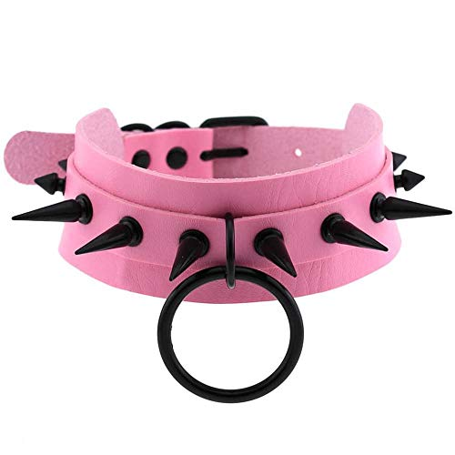 ghn Chain Necklaces Pink Choker Black Spike Necklace For Women Metal Rivet Studded Collar Girls Party Club Chockers Gothic Jewelry Emo Accessories Jewelry & Accessories (Metal Color : Pink)