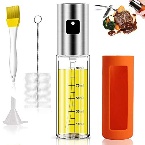 HONZUEN Ölsprüher mit Skala und rutschfeste Silikonhülle, Edelstahl Öl Sprühflasche Öl Sprayer mit 2 Bürste 1Trichter, Ölsprüher für Speiseöl Grillen Backen Kochen Salat(100 ML)