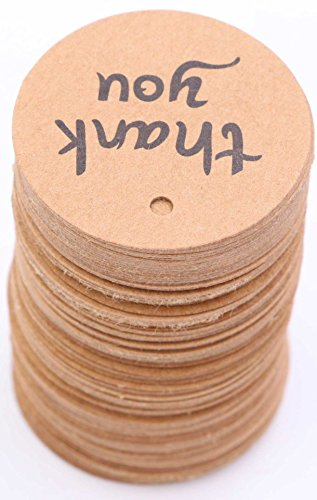 Thank You Tags - LeBeila 100 Gift Tags Round Brown Kraft Paper Tag Card with Jute Twine String for Wedding Favors, Personalized Craft, Bonbonniere, Birthday, Graduation, Party Decoration (100pcs)