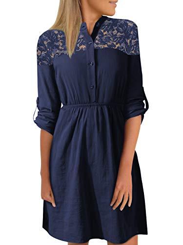 YOINS Vestito Elegante da Donna Manica Lunga Abiti a Quadri Scollo a V Abito Scozzese da Cocktail C-Blu Scuro XL