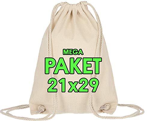 Turnbeutel 25 Stück 21 x 29 cm – Kleine Sportbeutel Baumwollbeutel - Tote Bag - Basteln Kindergarten - Hipster Stofftasche, Beutel, Jutebeutel OEKO-TEX® geprüft Stoffbeutel Sack zum gestalten Natur