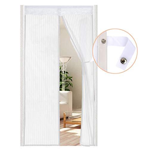 AUGOLA Cortina Mosquitera Magnética para Puerta con Alzapaños 90 x 210 cm, Mosquitera Para Puertas Cortina de Sala de Estar ,Cortinas Antimoscas Exterior, Blanco