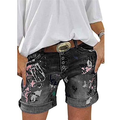 ORANDESIGNE Damen Jeansshorts Basic Waschung Jeans Bermuda-Shorts Kurze Hosen aus Denim für den Damen High Waist Denim Kurze Hose mit Quaste Ripped Loch Hotpants Shorts A Schwarz XL
