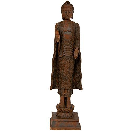Oriental Furniture 21' Standing Semui-in Rust Patina Buddha Statue