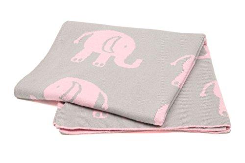 Casalanas, Kinderdecke, Babydecke, Kuscheldecke, 100% Baumwolle, 100X80 cm, Elefant Motiv, grau mit rosa