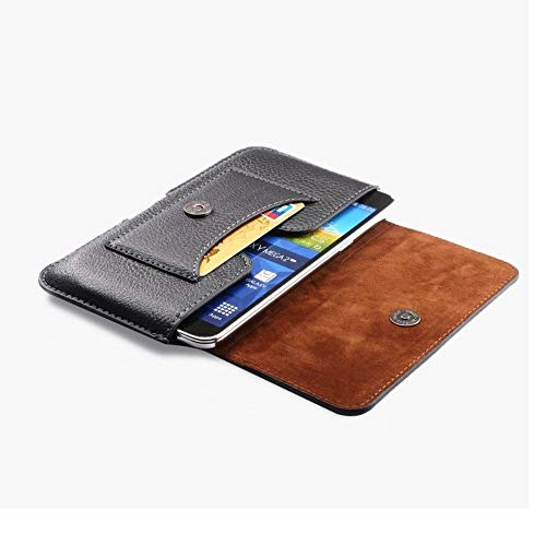 DFV mobile - Nuevo Diseño Funda Estuche Cinturón Horizontal de Piel con Tarjetero para alcatel Pop Up - Negra
