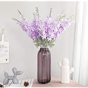 Skyseen 5Pcs Artificial Silk Flowers Flocked Delphinium for Home Office Indoor Outdoor Wedding Decoration (Purple)