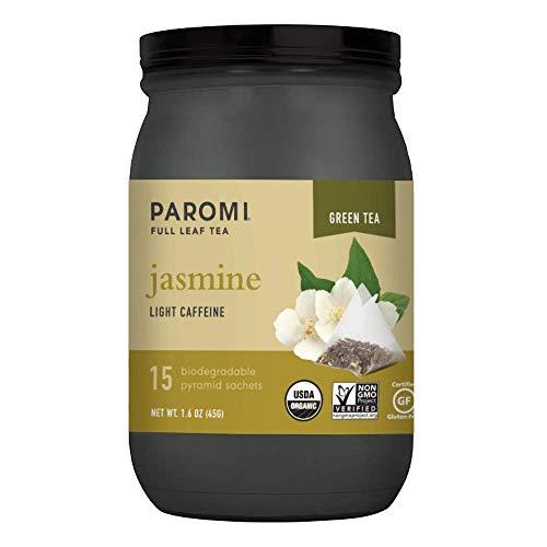 Paromi Tea Organic Jasmine Green Tea, 15 Pyramid Tea Bags (Pack of 6) - Non-GMO