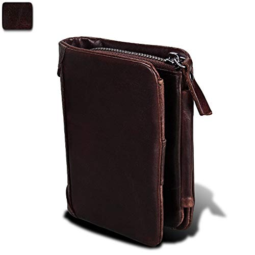 Carteras para Hombre RFID Genuine Leather Slim Bifold Wallets for Men, (Color: marrón, Negro, Color café)