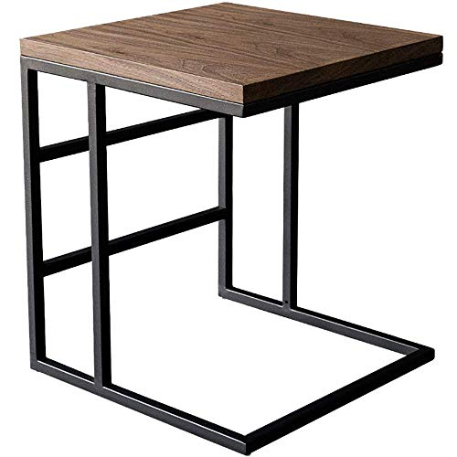 End Tables Industrial Side Table, Mobile Snack Table for Coffee Laptop Tablet, Slides Next To Sofa Couch, Wood Look Accent Furniture With Metal Frame