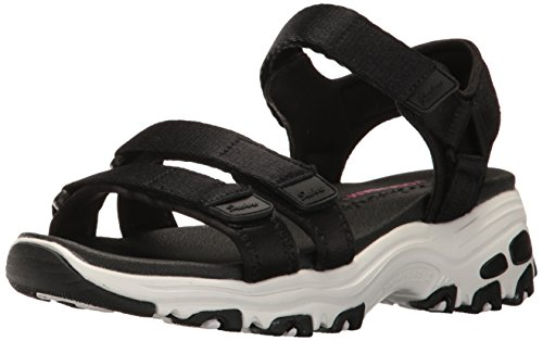 Skechers Cali Women's D'Lites-Fresh Catch Wedge Sandal,Black,10 M US