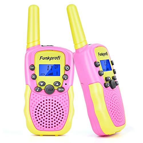 Funkprofi 2X Walkie Talkie Set für Kinder T-388 Funkgeräte 1-3KM Reichweite PMR446 8 Kanal mit Taschenlampe Geschenk für Jungen Mädchen ab 3 Jahren alt (Gelb+Pink)