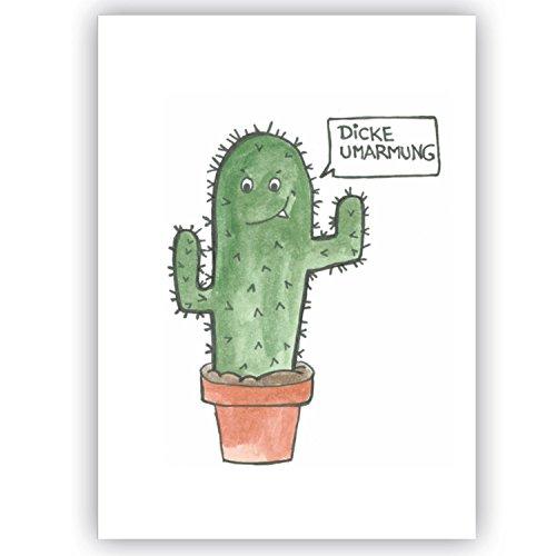 Postkarte Kaktus - Dicke Umarmung - Humor lustige Karte für Freunde Freundschaft Humor Sprüche Spaß mit Sprüchen Genesungswünsche, Gute Besserung, Genesung, Viele Grüße, süße fiese Postkarte