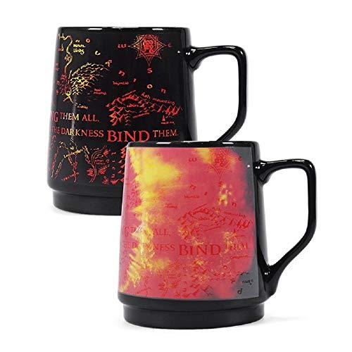 Herr der Ringe - Tasse thermoeffekt Kaffeebecher - Sauron Auge und Landkarte - Geschenkbox