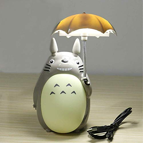 Yuzhijie Hayao Miyazaki My Neighbor Totoro Luz nocturna con paraguas dibujos animados My Neighbor Totoro Lámpara de mesa creativa Estudiante Dormitorio Lámpara de noche Lámpara LED Luz A