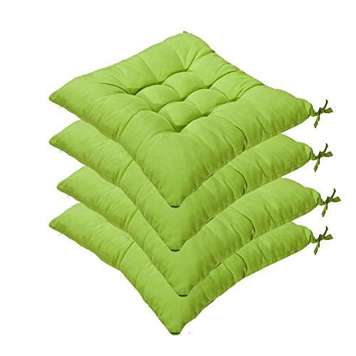 SHDS Juego de 4 Cojines para sillas con Lazos Cojines para sillas de jardín 40 x 40 x 5 cm para Interiores y Exteriores para sillas de Cocina y Comedor (Verde Claro)