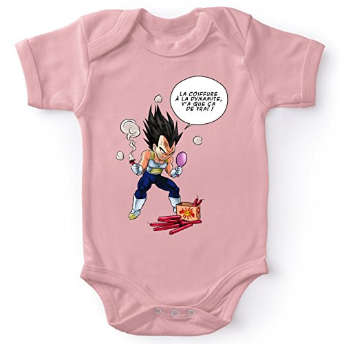 Okiwoki Body bébé Manches Courtes Filles Rose Parodie Dragon Ball Z - DBZ - Végéta - Astuce pour Se coiffer Le Matin !(Body bébé de qualité supérieure de Taille 3 Mois - imprimé en France)