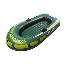 Inflatable Boat for Pool, Inflatable Kayak for Adult and Kids, Rowing Air PVC Boat for Starter for 2-Person One Child… 3 HIGN QUALITY: The inflatable boat is made from high quality PVC, thickness up to 0.3mm with well airtight and abrasion-resistance. FAMILY LEISURE: Imaging cruising around the pool, or enjoying a day out on the lake with family, that is so nice. EASY STORAGE: With inflatable design, keep it easy to fold for convenient storage and transportation.