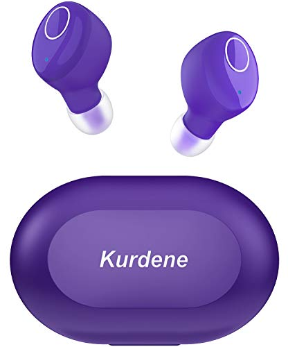Kurdene Small Wireless Earbuds,Bluetooth Earbuds with Charging Case Bass Sounds IPX8 Waterproof Sports Headphones with Mic Touch Control 24H Playtime for iPhone/Samsung/Android(Purple)